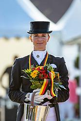 BREDOW-WERNDL Jessica von (GER)<br /> Siegerehrung/Meisterehrung<br /> Longines Großer Optimum Preis <br /> präsentiert von das Meggle GmbH & Co. KG<br /> Nat. Dressurprüfung Kl. S**** - Grand Prix Kür <br /> Finale Deutsche Meisterschaften<br /> Balve Optimum - Deutsche Meisterschaft Dressur 2020<br /> 20. September2020<br /> © www.sportfotos-lafrentz.de/Stefan Lafrentz
