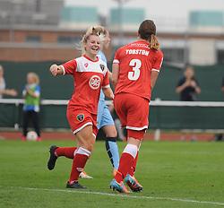 Bristol Academy Womens' Corinne Yorston celebrates her goal with Bristol Academy Womens' Nicola Watts  - Photo mandatory by-line: Dougie Allward/JMP - Mobile: 07966 386802 - 28/09/2014 - SPORT - Women's Football - Bristol - SGS Wise Campus - Bristol Academy Women's v Manchester City Women's - Women's Super League