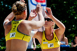 Britta Büthe and Karla Borger of Germany at A1 Beach Volleyball Grand Slam tournament of Swatch FIVB World Tour 2011, on August 2, 2011 in Klagenfurt, Austria. (Photo by Matic Klansek Velej / Sportida)