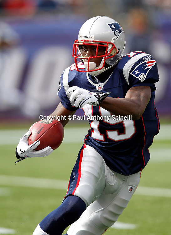 New England Patriots kickoff returner Brandon Tate (19) returns a kickoff during the NFL regular season week 3 football game against the Buffalo Bills on September 26, 2010 in Foxborough, Massachusetts. The Patriots won the game 38-30. (©Paul Anthony Spinelli)