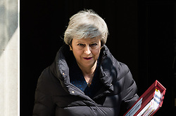 May 1, 2019 - London, England, United Kingdom - British Prime Minister Theresa May leaves 10 Downing Street for the weekly PMQ session in the House of Commons in London, England. (Credit Image: © Wiktor Szymanowicz/NurPhoto via ZUMA Press)