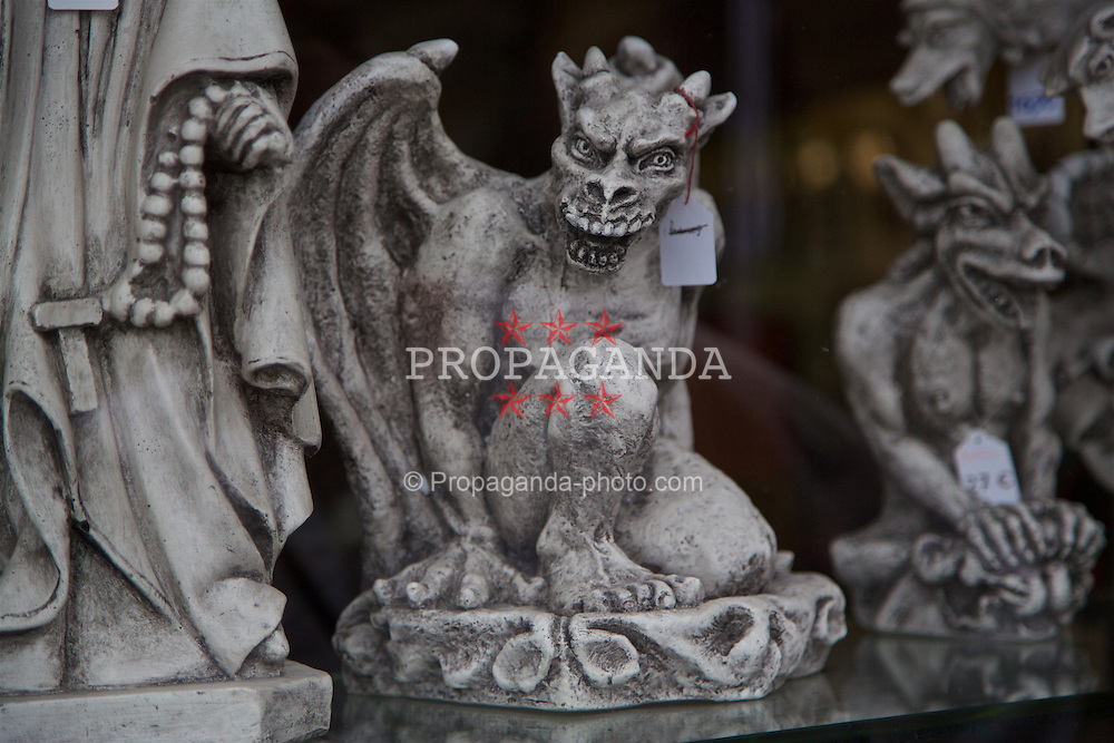 LE MONT-SAINT-MICHEL, FRANCE - Tuesday, June 28, 2016: A gargoyle on sale at Mont Saint-Michel during the UEFA Euro 2016 Championship. (Pic by David Rawcliffe/Propaganda)