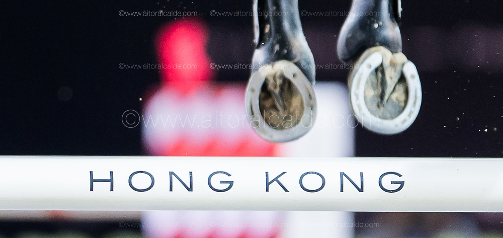 HONG KONG - FEBRUARY 20:  Detail of a shoe horse during the Airbus Trophy as part of the 2016 Longines Masters of Hong Kong on February 20, 2016 in Hong Kong, Hong Kong.  (Photo by Aitor Alcalde Colomer/Getty Images)