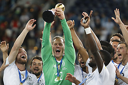 July 3, 2017 - Saint Petersburg, Russia - Marc-Andre ter Stegen of Germany national team lifts up the trophy as Germany national team players celebrate during award ceremony after FIFA Confederations Cup Russia 2017 final match between Chile and Germany at Saint Petersburg Stadium on July 2, 2017 in Saint Petersburg, Russia. (Credit Image: © Mike Kireev/NurPhoto via ZUMA Press)