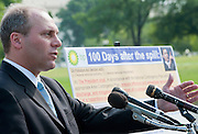 Wednesday marked the 100th day since the Deepwater Horizon Oil Platform and the resulting oil spill in the Gulf of Mexico. Rep. STEVE SCALISE (R-La.), criticized President Barack Obama's response to the crisis, and attacted House Democrats on their bill to tighten restrictions on offshore drilling and eliminate the liability cap for  oil companies.