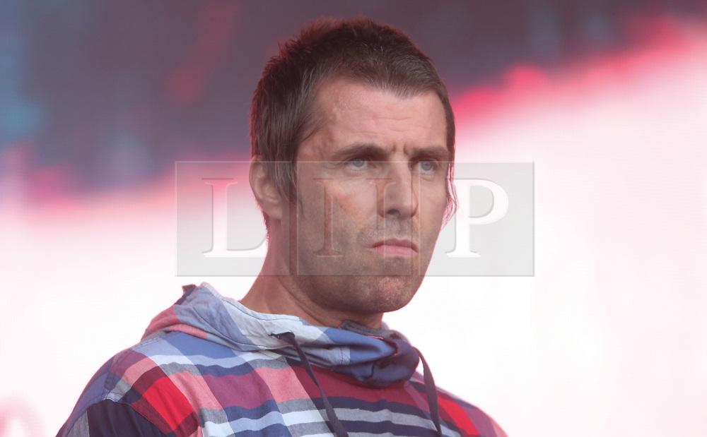 © Licensed to London News Pictures. 29/06/2019. Glastonbury , UK. Liam Gallagher on the Pyramid stage at Glastonbury Festival in Somerset. Photo credit: Jason Bryant/LNP