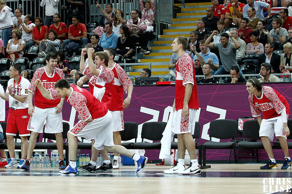 04 August 2012: Team Russia players react during 77-74 Team Russia victory over Team Spain, during the men's basketball preliminary, at the Basketball Arena, in London, Great Britain.