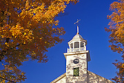 Image of the Universalist Society of Strafford Church steeple in fall, South Strafford, Vermont, American Northeast