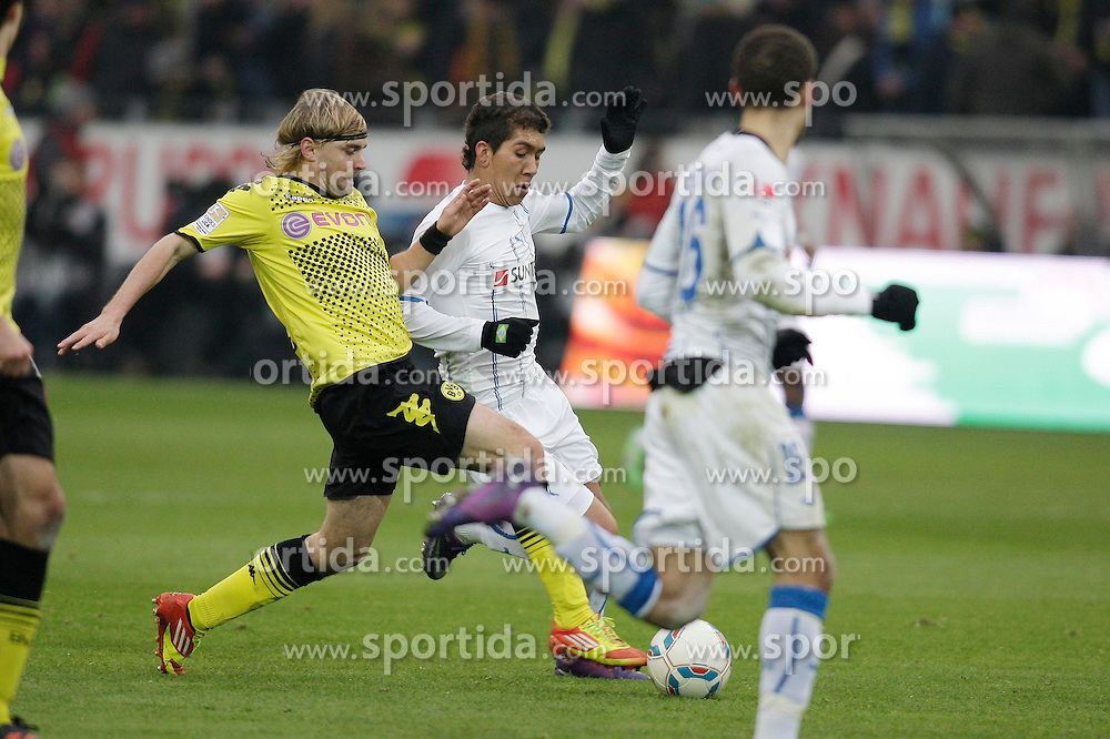 "28.01.2012, Signal Iduna Park, Dortmund, GER, 1. FBL, Borussia Dortmund vs 1899 Hoffenheim, 19. Spieltag, im Bild v.l. Marcel Schmelzer (Borussia Dortmund), Roberto Firmino (TSG 1899 Hoffenheim), Fabian Johnson (TSG 1899 Hoffenheim), Aktion // during the football match of the german ""Bundesliga"", 19th round, between GER, 1. FBL, Borussia Dortmund and 1899 Hoffenheim, at the Signal Iduna Park, Dortmund, Germany on 2012/01/28. EXPA Pictures © 2012, PhotoCredit: EXPA/ Eibner/ Oliver Vogler..***** ATTENTION - OUT OF GER *****"