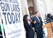 HARTFORD, CONNECTICUT. Governor Dan Malloy speaks during an anti gun rally in front of the capitol building in downtown Hartford, CT. on February 14, 2012. Spot News, General News images for Newspapers by Photojournalist Pablo Robles.