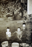 father with children in Onsen Japan