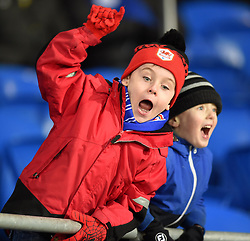 Young Cardiff City fans celebrate a late goal from Kenwyne Jones - Photo mandatory by-line: Paul Knight/JMP - Mobile: 07966 386802 - 28/12/2014 - SPORT - Football - Cardiff - Cardiff City Stadium - Cardiff City v Watford - Sky Bet Championship