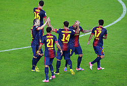 Barca players celebrate after Pedro equalizes. Barcelona v Real Madrid, Supercopa first leg, Camp Nou, Barcelona, 23rd August 2012...Credit : Eoin Mundow/Cleva Media