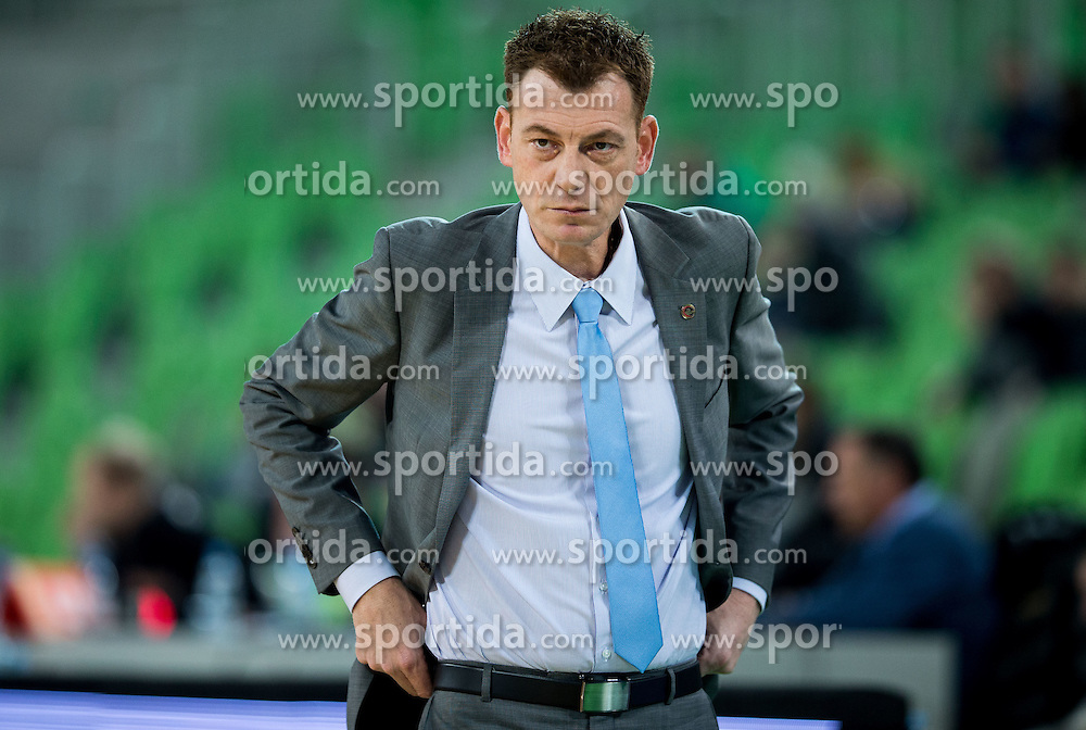 Gasper Okorn, head coach of KK Union Olimpija during basketball match between KK Union Olimpija Ljubljana and KK mega Leks in 14th Round of ABA League 2016/17, on December 18, 2016 in Arena Stozice, Ljubljana, Slovenia. Photo by Vid Ponikvar / Sportida