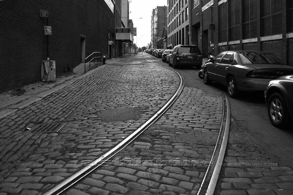 Tram lines at city street. NYC. U.S.A.