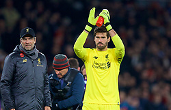 LONDON, ENGLAND - Saturday, November 3, 2018: Liverpool's goalkeeper Alisson Becker applauds the supporters after the FA Premier League match between Arsenal FC and Liverpool FC at Emirates Stadium. The game ended in a 1-1 draw. (Pic by David Rawcliffe/Propaganda)