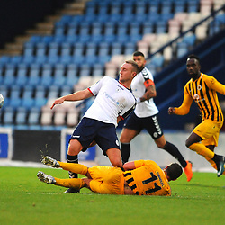 TELFORD COPYRIGHT MIKE SHERIDAN 10/11/2018 - Jon Royle of AFC Telford is tackled by David Norris of Boston  during the Vanarama Conference North fixture between AFC Telford United and Boston United.