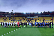 The teams applaud the national anthems before the New Zealand All Whites v Fiji, FIFA Football World Cup Qualification, OFC Final Group Stage. Westpac Stadium, Wellington, New Zealand. 28 March 2017. Copyright Image: Mark Tantrum / www.photosport.nz