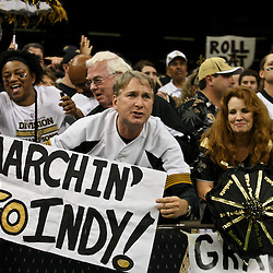 January 7, 2012; New Orleans, LA, USA; A New Orleans Saints fan holds up a sign during the 2011 NFC wild card playoff game against the Detroit Lions at the Mercedes-Benz Superdome. Mandatory Credit: Derick E. Hingle-US PRESSWIRE