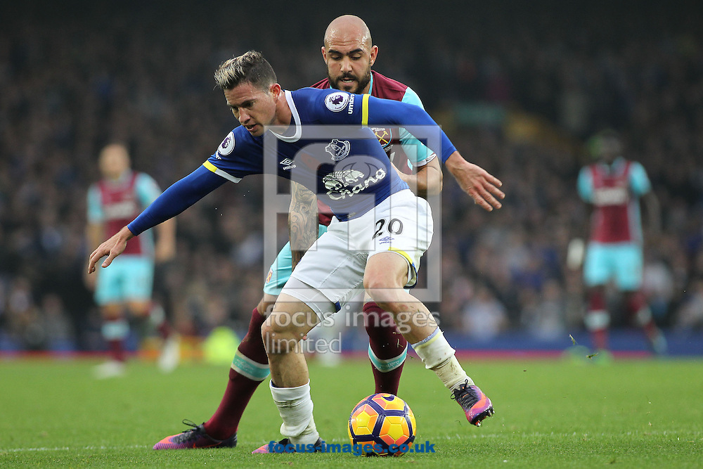 Bryan Oviedo of Everton and Simone Zaza of West Ham United in action during the Premier League match at Goodison Park, Liverpool.<br /> Picture by Michael Sedgwick/Focus Images Ltd +44 7900 363072<br /> 30/10/2016