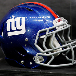 November 28, 2011; New Orleans, LA, USA; A detailed view of the New York Giants helmet prior to kickoff of a game against the New Orleans Saints at the Mercedes-Benz Superdome. Mandatory Credit: Derick E. Hingle-US PRESSWIRE