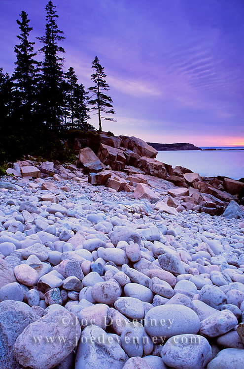 Boulder Beach along Ocan Drive. Acadia National Park. Mount Desert Island. Maine