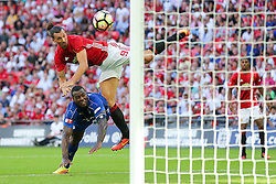 Zlatan Ibrahimovic of Manchester United scores a goal to make it 1-2 - Rogan Thomson/JMP - 07/08/2016 - FOOTBALL - Wembley Stadium - London, England - Leicester City v Manchester United - The FA Community Shield.