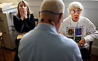 REEDVILLE, VA - DECEMBER 12:  Doctor Emery Lewis gives a memory test to new Medicare patient, Helen Kinne, 88-years-old, while a concerned daughter, Deborah Kinne, looks on, at the family clinic in Reedville, Virginia, Monday, December 12, 2011.  With approximately 65 percent of his patients insured by Medicare, Doctor Lewis, is closely watching the upcoming DocFix vote in Congress. (Photo by Melina Mara/The Washington Post) . ...