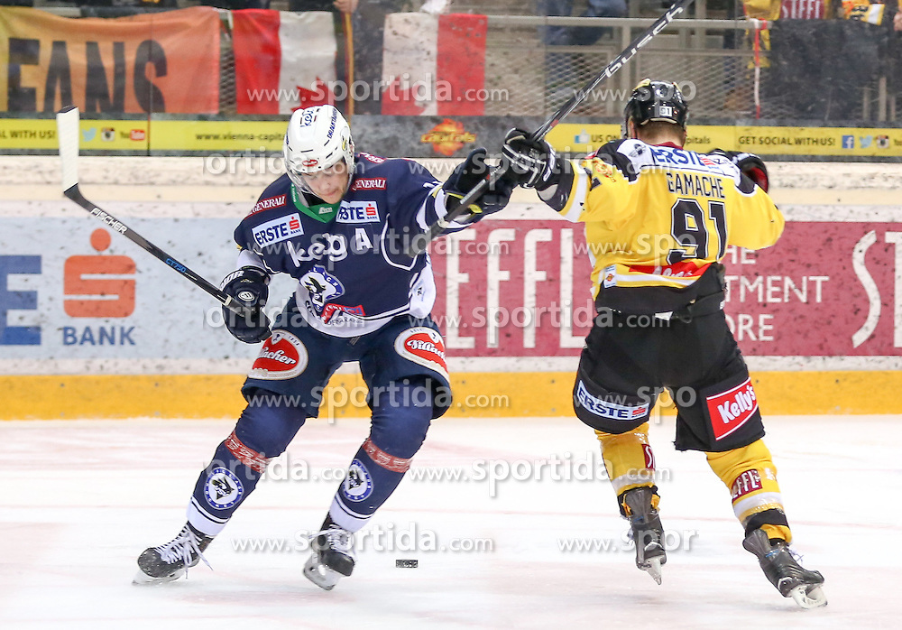 28.12.2015, Albert Schultz Halle, Wien, AUT, EBEL, UPC Vienna Capitals vs EC VSV, 36. Runde, im Bild Stefan Bacher (EC VSV) und Simon Gamache (Vienna Capitals) // during the Erste Bank Icehockey League 36th round match between UPC Vienna Capitals and EC VSV at the Albert Schultz Halle in Vienna, Austria on 2015/12/28. EXPA Pictures © 2015, PhotoCredit: EXPA/ Alexander Forst