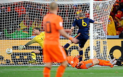 11-07-2010 VOETBAL: FIFA WK FINALE NEDERLAND - SPANJE: JOHANNESBURG<br /> Andres Iniesta erzielt das entschiedende, Goldtor das Spanien zum Fussballweltmeister 2010 in Sudafrika macht. Maarten Stekelenburg kansloos<br /> EXPA Pictures © 2010 EXPA/ InsideFoto/ Perottino - ©2010-WWW.FOTOHOOGENDOORN.NL<br /> *** ATTENTION *** FOR NETHERLANDS USE ONLY!
