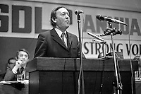 Conor Cruise O'Brien, Minister of Posts & Telegraphs, Rep of Ireland, speaking at Social Democratic & Labour Party's annual conference in Europa Hotel, Belfast, N Ireland, 197501000098CCOB1.<br /> <br /> Copyright Image from Victor Patterson, 54 Dorchester Park, Belfast, UK, BT9 6RJ<br /> <br /> t1: +44 28 9066 1296<br /> t2: +44 28 9002 2446<br /> m: +44 7802 353836<br /> <br /> e1: victorpatterson@me.com<br /> e2: victorpatterson@gmail.com<br /> <br /> www.victorpatterson.com<br /> <br /> IMPORTANT: Please see my Terms and Conditions of Use at www.victorpatterson.com