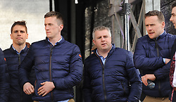 Mayo&rsquo;s Lee Keegan, Cillian O&rsquo;Connor, manager Stephen Rochford and Andy Moran at the team&rsquo;s homecoming at McHale park on sunday evening.<br /> Pic Conor McKeown