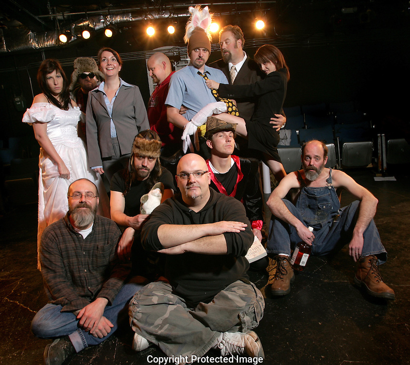 Shenanigans Playhouse Productions company at Mad Lab(Jodi Miller/Alive).Actors are:.Front Row:.Chris Lane (Writer)..Second Row (left to Right).Michael Moore, Brendan Michna, David Thonnings, Jim Azelvandre..Back Row (left to right): Amanda Howell, Andy Batt, Sarah Brunet, Ric Shoemaker, Josh Kessler, Peter Graybeal, Melissa Bair