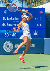 August 5, 2018 - San Jose, CA, U.S. - SAN JOSE, CA - AUGUST 05:Mihaela Buzarnescu (ROU) goes up for a return during the WTA Singles Championship at the Mubadala Silicon Valley Classic  at the San Jose State University Stadium Court in San Jose, CA  on Sunday, August 5, 2018. (Photo by Douglas Stringer/Icon Sportswire) (Credit Image: © Douglas Stringer/Icon SMI via ZUMA Press)