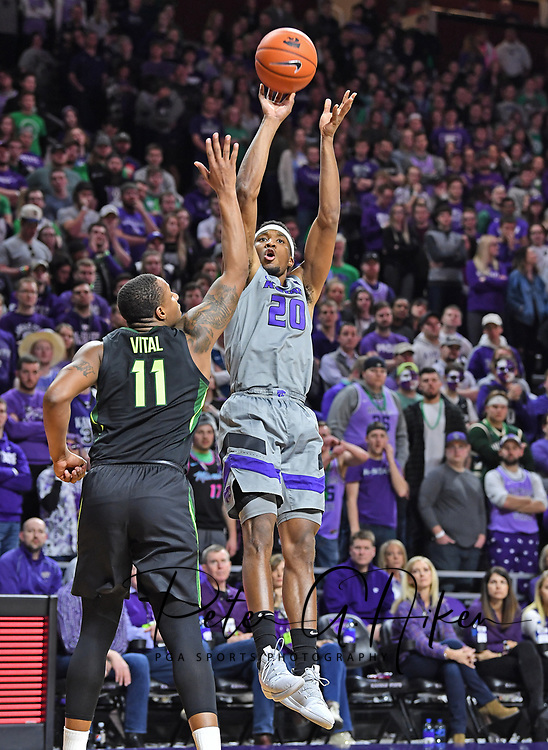 MANHATTAN, KS - MARCH 02:  Xavier Sneed #20 of the Kansas State Wildcats scores a basket over Mark Vital #11 of the Baylor Bears during the second half on March 2, 2019 at Bramlage Coliseum in Manhattan, Kansas.  (Photo by Peter G. Aiken/Getty Images) *** Local Caption *** Xavier Sneed;Mark Vital