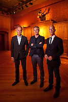 Pierre de Meuron, Ascan Mergenthaler, and Jacques Herzog pose for a photo in the Park Avenue Armory in New York for which they led the recent renovation. <br /> <br /> Photo by Robert Caplin