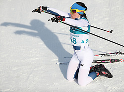 PYEONGCHANG, Feb. 15, 2018  Krista Parmakoski from Finland celebrates after finishing women's 10KM free event of country skiing at Pyeongchang 2018 Winter Olympic Games at Alpensia Cross-Country Centre, PyeongChang, South Korea, Feb. 15, 2018. Krista Parmakoski claimed third place in a time of 25:32.4. (Credit Image: © Bai Xuefei/Xinhua via ZUMA Wire)