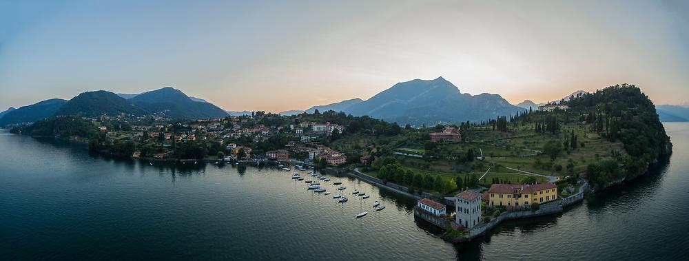 Aerial panorama of the Rockefeller Foundation Bellagio Center, Lake Como, Italy.