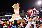 FAYETTEVILLE, AR - NOVEMBER 15:  The Boot being carried by the Arkansas Razorbacks after a game against the LSU Tigers at Razorback Stadium on November 15, 2014 in Fayetteville, Arkansas.  The Razorbacks defeated the Tigers 17-0.  (Photo by Wesley Hitt/Getty Images) *** Local Caption ***