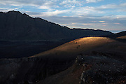 Sunset on the caldera of the volcano on Fogo, Cape Verde Islands, West Africa.