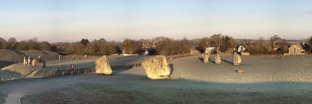 Winter dawn at Avebury Stone Circle, Wiltshire, Uk