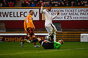 Dundee FC Forward Kane Hemmings attacks the goal during the Ladbrokes Scottish Premiership match between Motherwell and Dundee at Fir Park, Motherwell, Scotland on 12 December 2015. Photo by Craig McAllister.