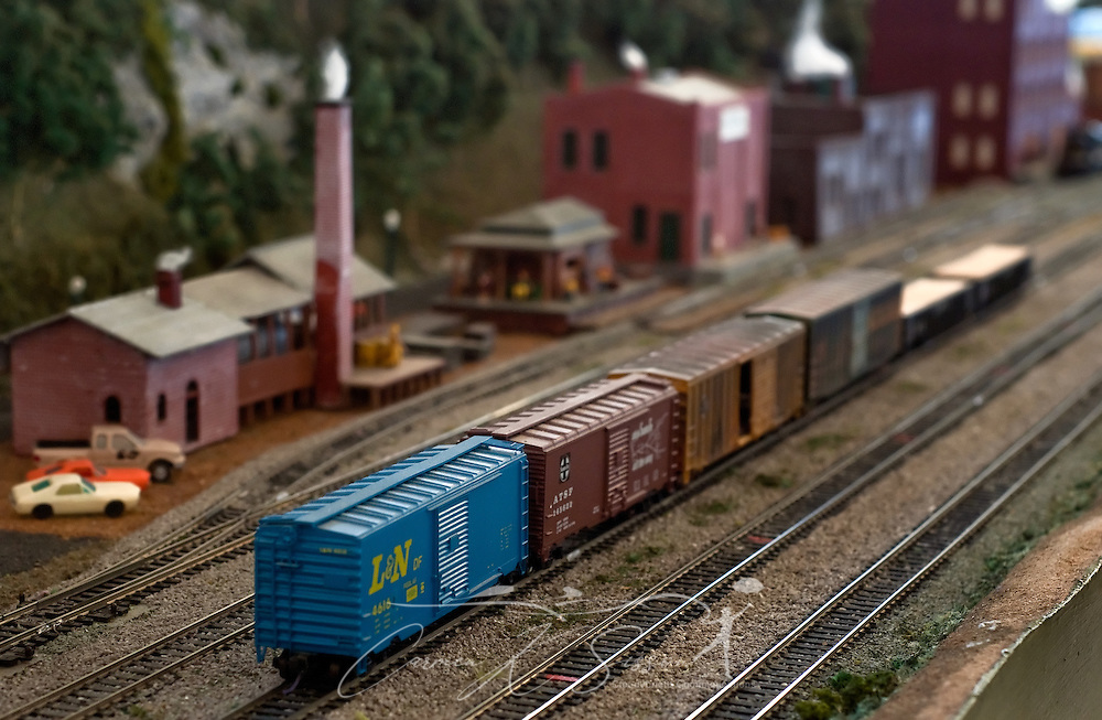 """A model train sits on a track at the Meridian Railroad Museum in Meridian, Miss. Jan. 15, 2011. The intricate display includes nearly 300 feet of track and custom, handmade figurines. The museum, which is open from 10 a.m. to 4 p.m. every first and third Saturday, features photographs and artifacts detailing Meridian's history as """"a child of the railroad."""" (Photo by Carmen K. Sisson/Cloudybright)"""