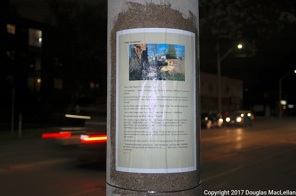 """CANADA, Windsor. May, 2017. """"Stories to the Streets"""", part of the MayWorks Windsor 2017 festival. Posters at various locations in the city, these ones near the University of Windsor and on Riverside Drive east."""