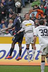 07.04.2012, Borussia-Park, Moenchengladbach, GER, 1. FBL, Borussia Moenchengladbach vs Hertha BSC, 29. Spieltag, im Bild v.l. Adrian Ramos (Hertha BSC Berlin), Tony Jantschke (Borussia Moenchengladbach), Martin Stranzl (Borussia Moenchengladbach), Aktio // during the German Bundesliga Match, 29th Round between VBorussia Moenchengladbach and Hertha BSC at the Borussia Park, Moenchengladbach, Germany on 2012/04/07. EXPA Pictures © 2012, PhotoCredit: EXPA/ Eibner/ Oliver Vogler..***** ATTENTION - OUT OF GER *****