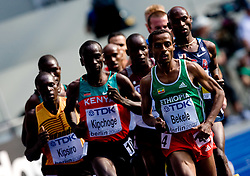 Moses Kipsiro of Uganda, Eliud Kipchoge of Kenya, Winner Kenenisa Bekele of Ethiopia and Bernard Lagat of USA  compete in the men's 5000m Final during the day nine of the 12th IAAF World Athletics Championships at the Olympic Stadium on August 23, 2009 in Berlin, Germany. (Photo by Vid Ponikvar / Sportida)