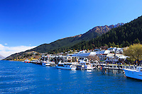 The shoreline of Queenstown, on the banks of Lake Wakatipu, South Island, New Zealand.