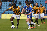 Port Vale midfielder Anthony Grant and Gillingham defender Aaron Morris during the Sky Bet League 1 match between Gillingham and Port Vale at the MEMS Priestfield Stadium, Gillingham, England on 16 April 2016. Photo by Martin Cole.