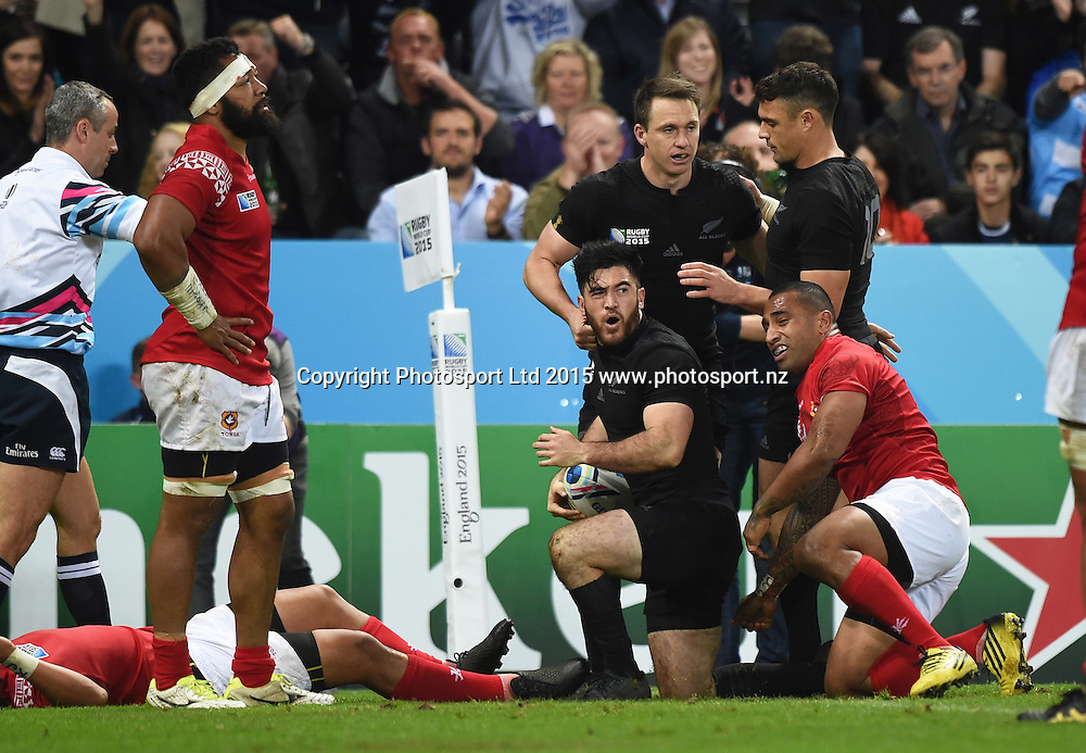 Nehe Milner-Skudder scores a try during the New Zealand All Blacks v Tonga Rugby World Cup 2015 match. St James' Park in Newcastle. UK. Friday 9 October 2015. Copyright Photo: Andrew Cornaga / www.Photosport.nz