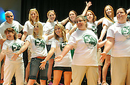 Teachers and staff perform onstage for students during the 50th Anniversary celebration at Simon Butler Elementary Elementary School Friday June 12, 2015 in Chalfont, Pennsylvania.  (Photo by William Thomas Cain/Cain Images)